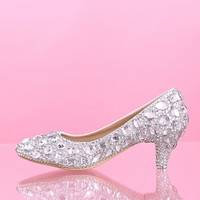 Mid heel wedding shoes White Diamond Princess Bride shoes crystal shoes glass slipper = 1930067588