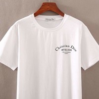 DIOR 2019 new curved gold letter printing men's round neck half sleeve shirt white