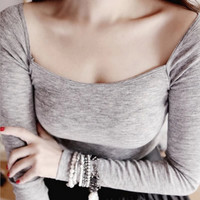 Autumn and winter collar square collar sexy cultivating cotton long-sleeved bottoming T-shirt
