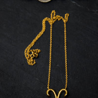 Aries Zodiac Sign,925k silver,Gold filled,Hand textured Necklace