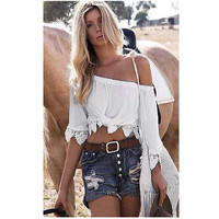 Sexy Off Shoulder Top Women Blouses Boho Lace Crop Top Sexy Slash Neck Women Shirts Summer Tops Ropa Mujer Chemisier Femme