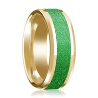 Textured Green Inlaid Men's 14k Yellow Gold Polished Wedding Band with Bevels - 8MM