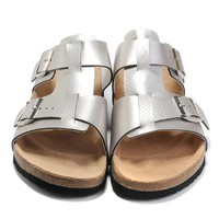 Birkenstock Leather Cork Flats Shoes Women Men Casual Sandals Shoes Soft Footbed Slippers-40