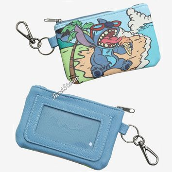 Licensed cool Lilo & Stitch Key Ring ID Wallet Ice Cream Zipper Coin Purse Loungefly Disney