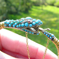 Antique Snake Serpent Bracelet, Gorgeous Victorian Gold Snake Uroboros with Turquoise, Rose Cut Diamonds and Ruby Eyes, Great Detail