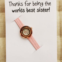 Best Sister Gift Pink Band Wristwatch Fashion Dress Woman Rhinestones Watch