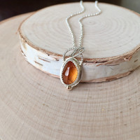 Sunning, Hessonite Garnet Pendant in .925 Sterling Silver with 14k Gold Ball and Silver Rolo Chain, Garnet Jewelry, Bright Orange, 4.26 ctw