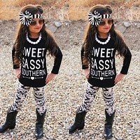 Newborn Toddler Kids Baby Boys Girls Outfits Clothes T-shirt Tops+Pants headband 3PCS Set