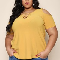 Keep It Up Plus Size Cold Shoulder Top Tops+ GS-LOVE