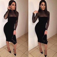 Women Black/White Sexy Long Mesh Sleeve Bandage Dress