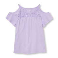 Girls Short Sleeve Lace Yoke Cold-Shoulder Top | The Children's Place