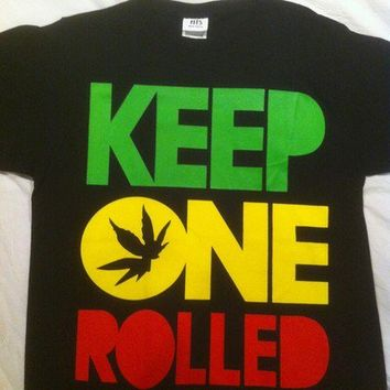 Keep One Rolled Front Screenprinted Funny Weed  Men's T-shirt Size M on eBay!