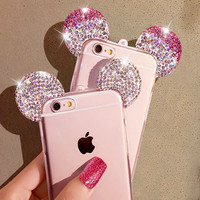 3D Mickey Mouse Ear Case For iPhone 6 6S 4.7 Inch Rhinestone Ears Soft Transparent TPU Protect Phone Covers