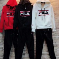 """FILA""Women Casual Fashion Letter Printing Long Sleeve Hoodie Trousers Set Two-Piece Sportswear"