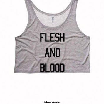 FLESH and BLOOD Ladies Boxy Crop Top   Motivational Exercise Crop Top Cute Womens Tank   Exercising Crossfit Tank Top   Also on Muscle Tanks