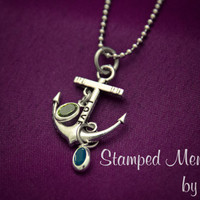 Love Anchors the Soul - Anchor Charm Necklace - Personalized With Your Choice of Birthstones - Navy Wife or Girlfriend Gift