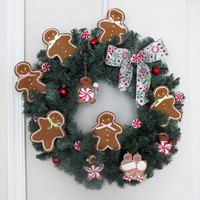 Gingerbread Wreath, Blue Spruce Holiday Wreath, Gingerbread, Candy Decoration