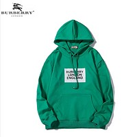 Burberry Fashion New Letter Print Women Men Leisure Hooded Long Sleeve Sweater Green