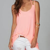MICHELLE Womens Strappy Long Length Tank