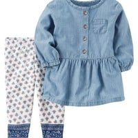 2-Piece Chambray Tunic & Legging Set