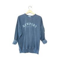 NEWPORT Vintage Sweatshirt. Faded Blue Pigment Dyed Sweatshirt. Rhode Island Slouchy Preppy Pullover. size Medium