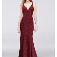 Illusion V-Neck Glitter Mermaid Dress - Davids Bridal
