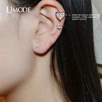 UMODE Heart Shell Powder Created Pearl CZ Rhinestones Gold Color Mismatched Ear Cuff Earrings Jewelry for Women Bijoux UE0182