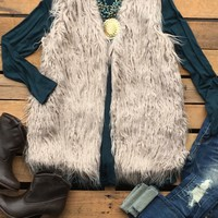 Our We're In This Together Vest is a must have in your closet! It's a sleeveless faux fur vest. Has front pockets and hook closure. Polyester lining.