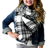 Girls Plaid Blanket Scarf, Black-White