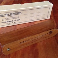 Rare Gibson Turkey Call and Gobbler Patented 1897 Mint Condition w/ Box & Papers