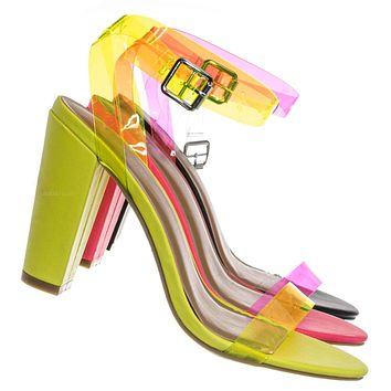 Mania41 Neon Clear Block High Heel Sandal - Lucite Transparent Open Toe Shoes