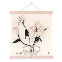 Wu Guanzhong Modern Traditional Chinese Ink Canvas Painting Black Whit Lily Poster Prints Hotel Living Room Wall Art Decor Gifts