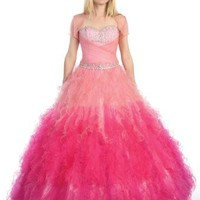 Ball Gown Formal Prom Strapless Ruffled Wedding Dress #37 (8, Turquoise)