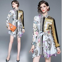 VERSACE Newest Hot Sale Women Print Half Sleeve Lapel Shirt Dress-1