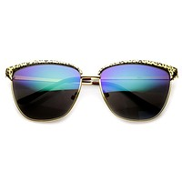 Women's Half Frame Trendy Metal Animal Print Sunglasses 9291