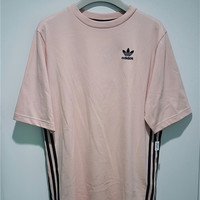 Adidas Unisex Pink Three Stripe Boyfriend T-Shirt