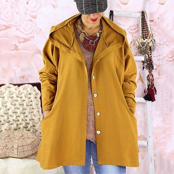 fhotwinter19 new hot sale solid color breasted casual hooded thin women's windbreaker