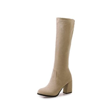 Faux Suede Tall Boots Winter Shoes for Woman 9096