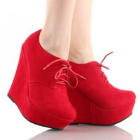 Trendy-97 Wedge Platform Lace Up Ankle Boots