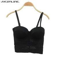 Womens Sexy Bustier Crop Top Vintage Cropped Feminino Women's Bustier Bra Corsets Bralette Vest Camis Push Up Tanks Tops Cropped