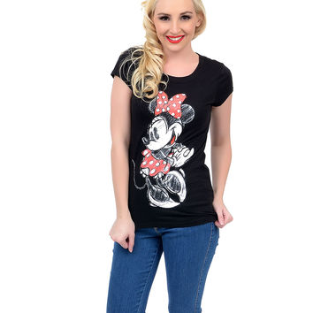 Black & White Short Sleeve Minnie Mouse Classic Tee
