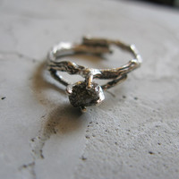 sterling silver tree branch ring with sparkly grey one-of-a-kind wild diamond
