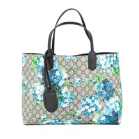 ONETOW Gucci Blossoms Blue Navy Reversible GG Blooms tote Leather Handbag Bag New