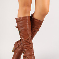 Strappy Buckle Zip Up Knee High Boot