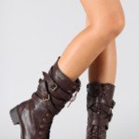 Soda Recipe-S Buckle Lace Up Mid Calf Boot