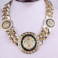 Black & Gold Lion Chain Necklace from Chaussure Boite by B. Ayesha