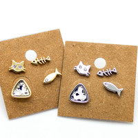 Cat fish stud earrings set
