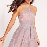 Missguided - Strappy Lace Skater Dress Lilac