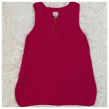 EXTRA SPECIAL! Cozy Cute V Neck Sleeveless Sweater Top-Hot Pink