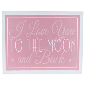 Pink Love You to the Moon Canvas Wall Art   Hobby Lobby   576058